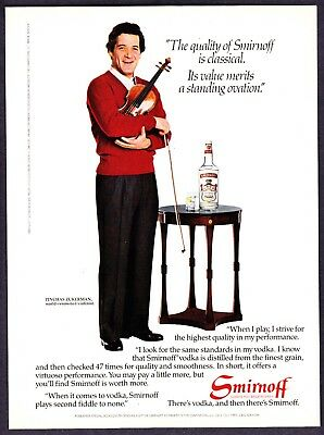 1984 Violinist Pinchas Zukerman photo Smirnoff Vodka vintage print ad