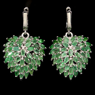 Unheated Marquise Cut 4x2mm  Top Rich Green Emerald 925 Sterling Silver Earrings