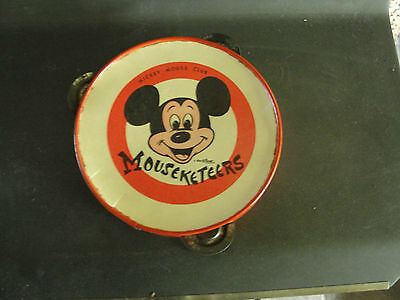 Mickey Mouse Club , Mouseketeers, Antigua Metal Rojo Pandereta, Disney
