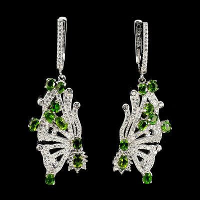 Unheated Oval 6x4mm Top Green Chrome Diopside Cz 925 Sterling Silver Earrings