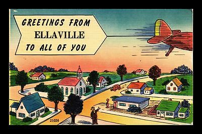 Dr Jim Stamps Us Greetings From Ellaville Topical View Linen Postcard