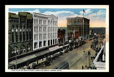 Dr Jim Stamps Us Main Street North View Akron Ohio White Border Postcard