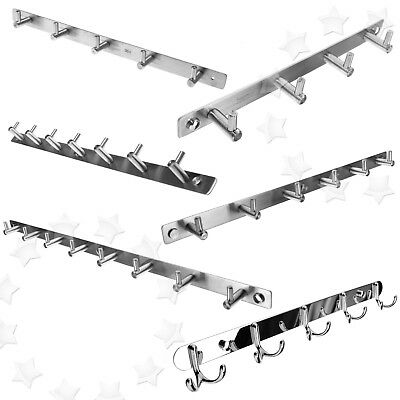 4/5/6/8/10 Wall Mounted Stainless Steel Coat Hat Clothes Hook Rack Hanger