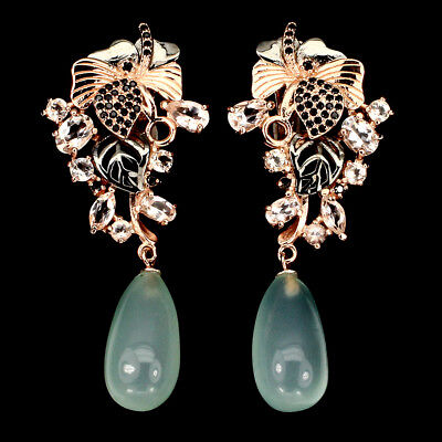 Precious Morganite Black Spinel Dyed Chalcedony 925 Sterling Silver Earrings