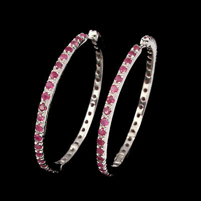 Round Cut 2mm Top Rich Red Pink Ruby 925 Sterling Silver Earrings