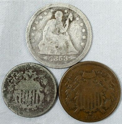 Start Your Own Type Set w/ 1866 Two Cent, 1865 Shield Nickel & 1853 SL Quarter