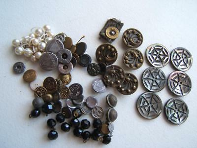 Vintage Antique Mixed Lot Of Buttons All With Some Wear