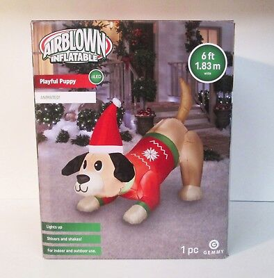 Playful Puppy Dog Christmas 6' Airblown Inflatable Animated Light Up Gemmy