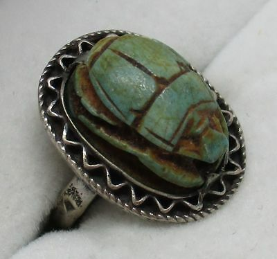 Antique STERLING SILVER Art Deco Egyptian Green Scarab Beetle Ring (SIZE: 5.5)