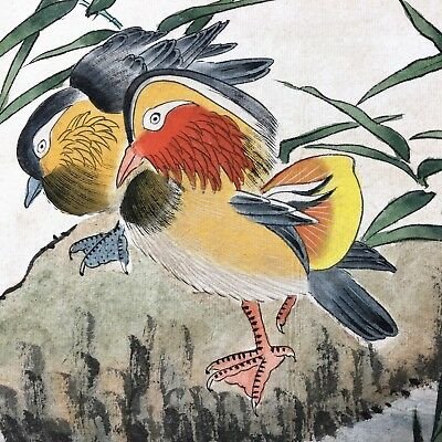 Antique Rare Collectible Old Paper Handwork Mandarin Duck & Bamboo Painting