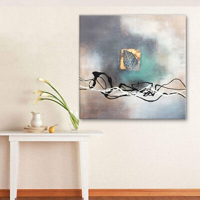 Abstract Framed 100% Hand-Painted Oil Painting Home Decor Wall Art 80x80cm Leaf