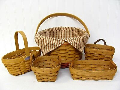 Longaberger 1999 HOMESTEAD 2000 CHEERS LAVENDER SMALL KEY THYME 5 BASKET LOT