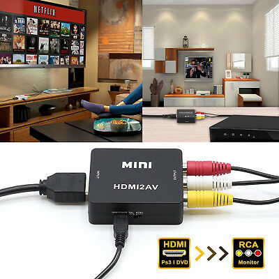 HDMI to RCA AV CVBS Component Converter Scaler 1080P Adapter Cable Box
