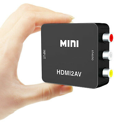 MINI HDMI to 3RCA CVBS Composite Video AV Converter Adapter TV P-S3 VHS VCR DVD