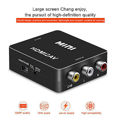 Mini HD 1080P HDMI to 3RCA AV/CVSB L/R Video Converter Box Composite Connector