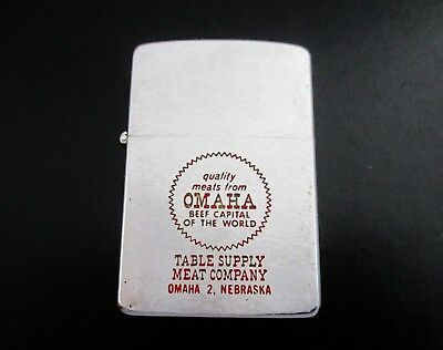 Vintage 1963 Zippo Cigarette Lighter Omaha Table Supply Meat Company Steaks