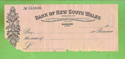 1937 Bank Of New South Wales  Check / Cheque  555806 - Burwood Branch