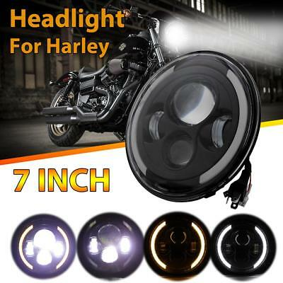 7'' INCH Round LED Motorcycle Headlight Hi/Lo Beam Bulb Side Halo DRL For Harley