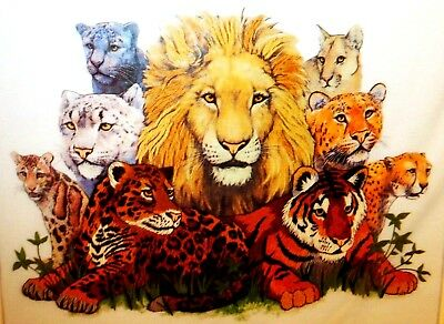 """NIP Sunset 16""""x12"""" CATS OF THE WILD Crewel Embroidery Picture or Pillow KIT"""