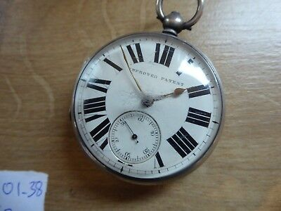 Large Antique Gents Silver  Cased Improved Patent Fusee Pocket Watch Dates C1873
