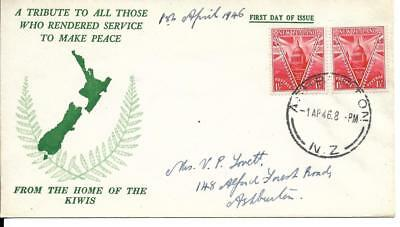 New Zealand 1946 Peace FDC (B)
