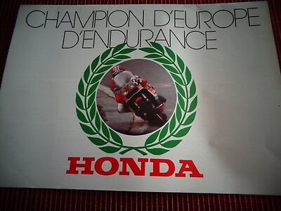 CATALOGUE MOTO HONDA CHAMPION D'EUROPE D'ENDURANCE 1977  (ref 64 )
