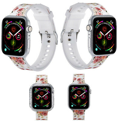 Luxury Floral Print Silicone Watch Bands Straps Case for Apple Watch Series 4321