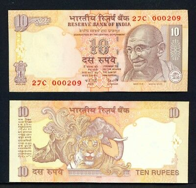 INDIA - 2009 10 Rupees UNC Banknote