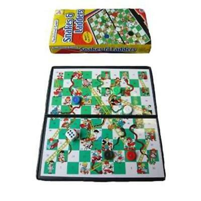 Mini Travel Magnetic Compact Snakes And Ladders Board Game And Pieces - Folds