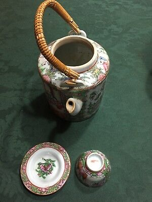 Vintage Porcelain Tea Set with Wicker Basket