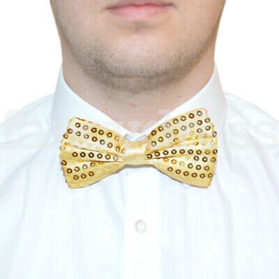 5ffbb7573881 Gold Sequin Satin Bow Tie Dickie Magic Show Tap Jazz Dance Fancy Dress NEW