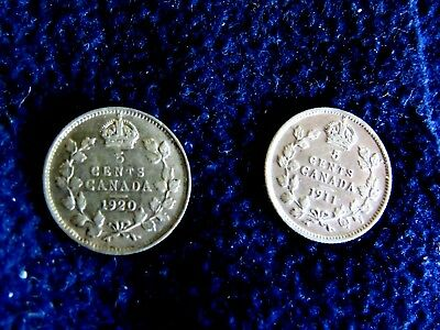 Lot Of Two Canadian Silver Five Cent High Grade Coins: 1911 And 1920