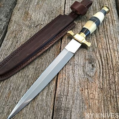 "13"" Commando Dagger Hunting Knife w/Genuine Leather Sheath Fixed Blade 203166"