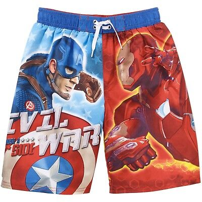 Nwt~Captain America Civil War~Iron Man~Boy Swim Trunks~Suit~Board Shorts~6/7~New