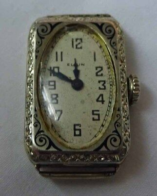 Vintage Elgin 14K White Gold Art Deco Ladies Watch Face