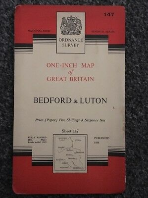 Vintage Ordnance Survey Map Bedford & Luton 1963 Paper  edition - Sheet 147