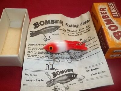 Baby Bomber Vintage Fishing Lure Unused Wooden Collectible W/Box & Catalog #207?