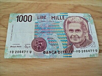 1000 LIRE MILLE BANCA D'ITALIA ITALY Bank Note Paper Circulated M. MONTESSORI