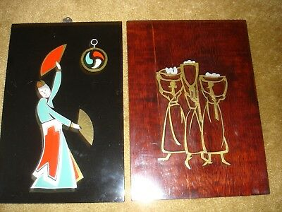 Lot of 2 Vintage Asian Wood Lacquer Paintings Wall Plaques