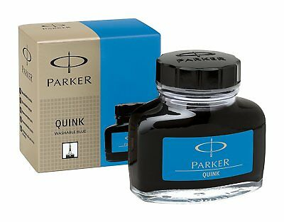 Parker Quink Bottled Ink for Fountain Pens - Washable Blue 1950377 NEW