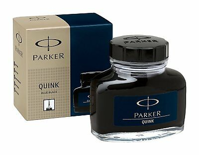 Parker Quink Bottled Ink for Fountain Pens - Permanent Blue-Black NEW 1950378