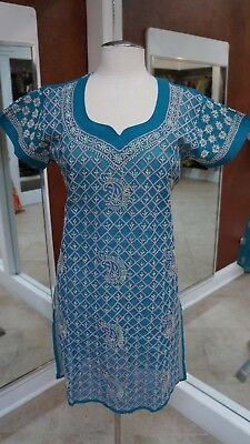 KURTI Women's Chikankari Indian Pakistani style Embroidery Light Blue Kurta