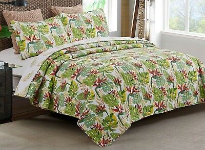 Palm Leaves Bird of Paradise Tropical Beach House Reversible King Quilt Set