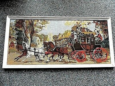 Tapestry: Coach and Horses, stitched in 1970s