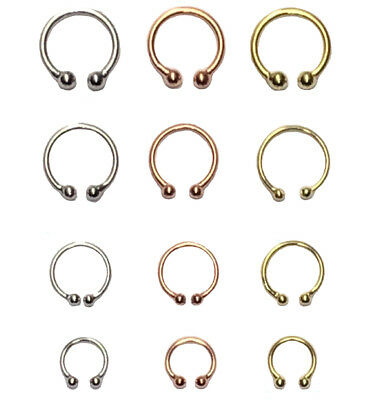 Fake Clip On Piercing Ring Horseshoe Barbell Hoop Cartilage Septum Nose