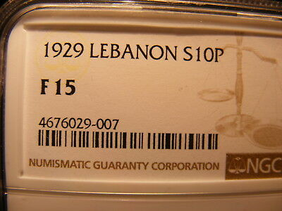 Lebanon 1929 Silver 10 Piastres, KM#6, One Year Type Coin,F-15, NGC Slab