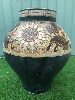 ORIG. 19thC MARTIN BROS POTTERY VASE WITH SUNFLOWER & OTHER DECORATION c1882