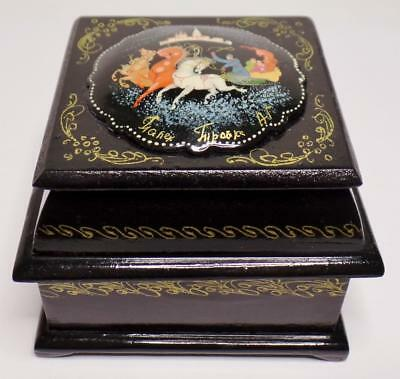 Vntg Russian Palekh Troika Troyka Horses Lacquer Box Double 2 Compartment Signed