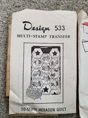 Vintage Sewing 50 STATES HEXAGON QUILT Pattern Transfer Embroidery New 2 package