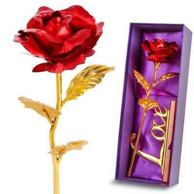 Red Leaf 24K Gilded Artificial Roses for Valentine's Day Gift With A Love Stand
